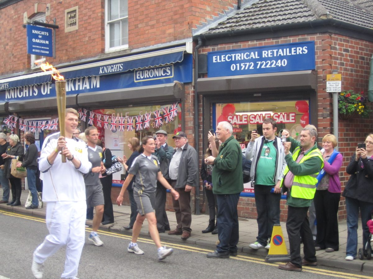 The Olympic Flame passes through Oakham High Street