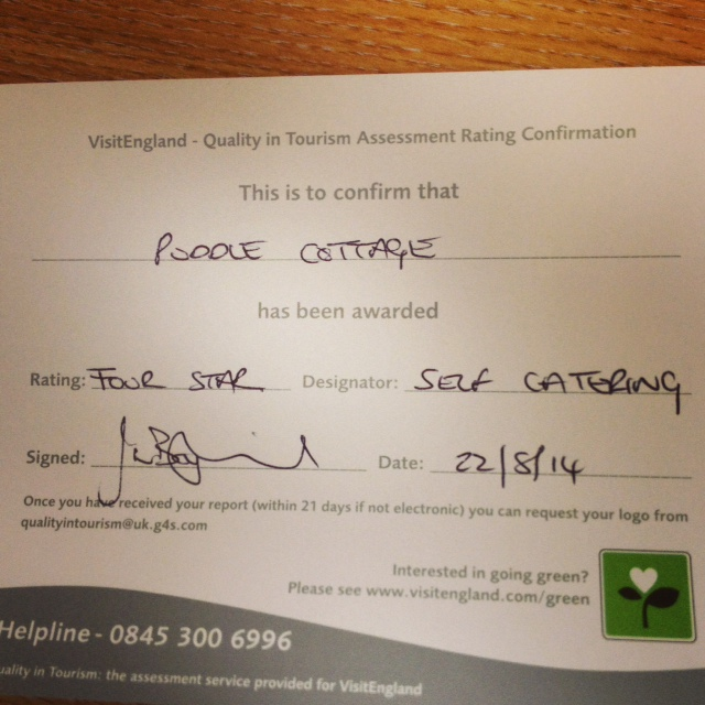 Puddle Cottage retains 4 Star Status!